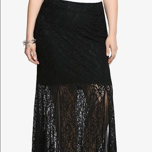 Black Lace Maxi Skirt Size 2 Torrid